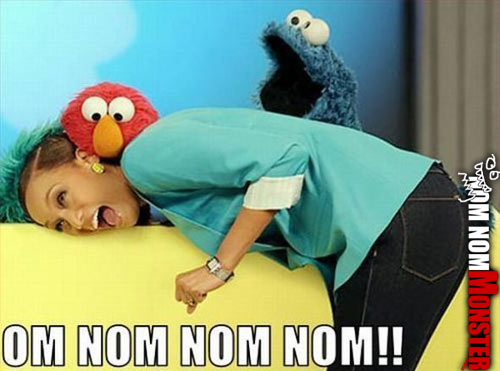 Cookie Monster and Elmo Nom Nom A Woman